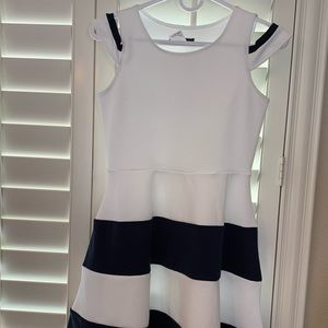 Adorable girls navy and white A-line dress